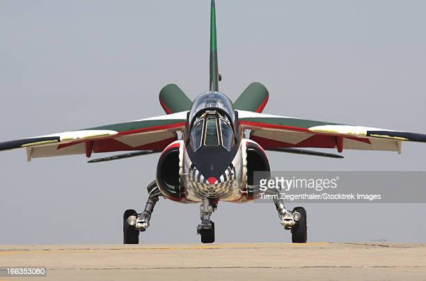 An Alpha Jet of the Portuguese Air Force demo team Asas de Portugal taxiing at Beja, Portugal.