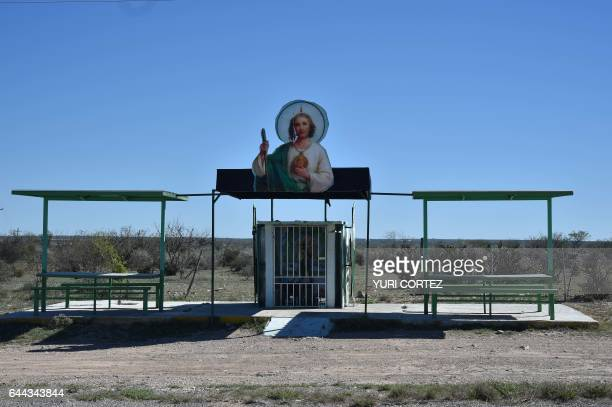 An altar and chapel dedicated for Saint San Judas Tadeo is picture along a desolate road close to the international boundary at Amistad Reservoir...