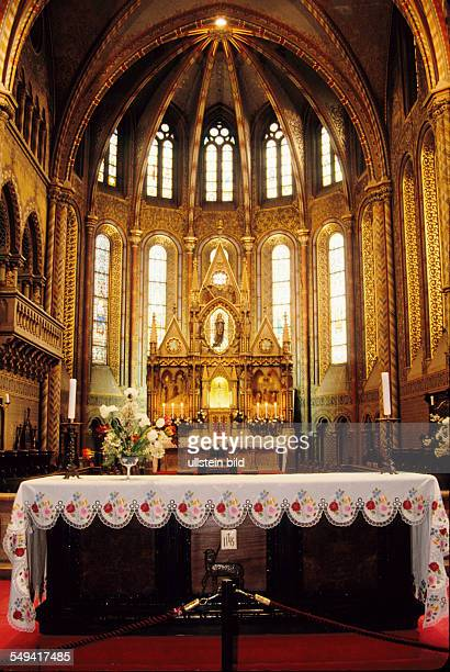 An altar in the Matthias Church UNESCO world heritage site