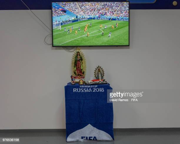 An Altar is seen inside the Argentina dressing room during the 2018 FIFA World Cup Russia group D match between Argentina and Iceland at Spartak...