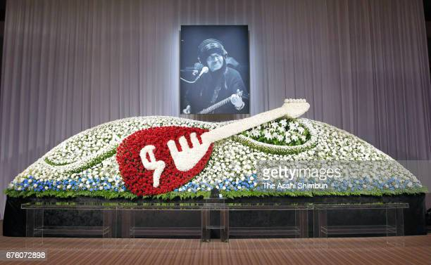 An altar is set up at the farewell meeting for late musician Hiroshi Kamayatsu on May 2, 2017 in Tokyo, Japan.