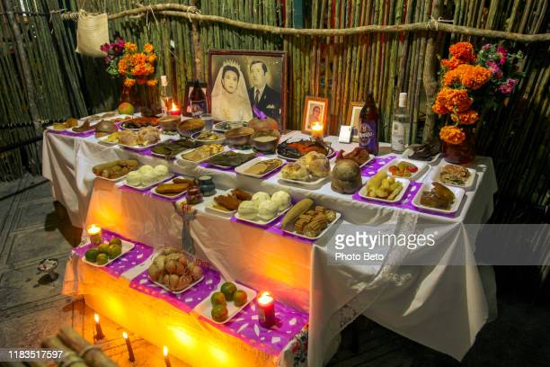 mexico - day of the dead - dia de muertos - altar - ofrenda - no people - altar stock pictures, royalty-free photos & images