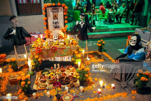 mexico - day of the dead - dia de muertos - altar - ofrenda - altar stock pictures, royalty-free photos & images