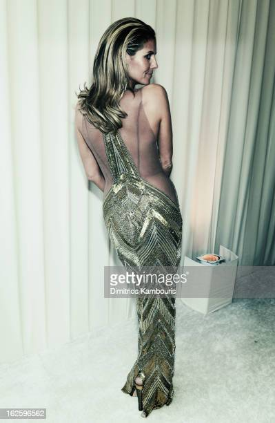 An alternate view of model Heidi Klum at the 21st Annual Elton John AIDS Foundation Academy Awards Viewing Party at West Hollywood Park on February...