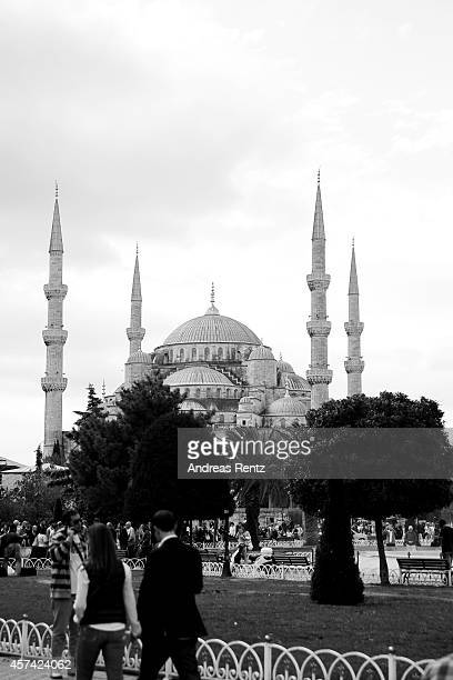 An alternative outside view of the Sultan Ahmed Mosque on October 18 2014 in Istanbul Turkey