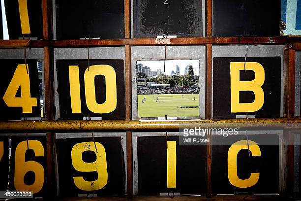 An alternative view from inside the scoreboard during day one of the Third Ashes Test Match between Australia and England at WACA on December 13,...
