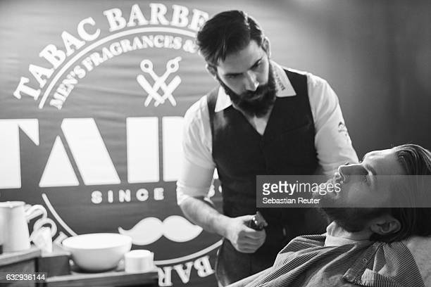 An alternative view of a barber shop booth during Platform Fashion January 2017 at Areal Boehler on January 28 2017 in Duesseldorf Germany