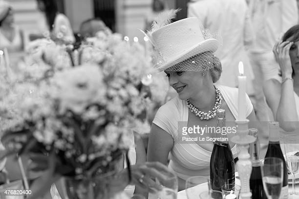 An alternative view of a guest at the 27th 'Diner En Blanc' Dinner In White In Paris on June 11 2015 in Paris France Over 10000 people attended the...