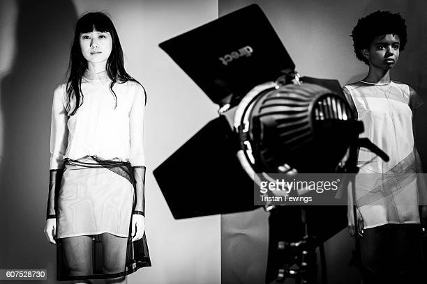 An alternative view of a model at the JJS Lee presentation during London Fashion Week Spring/Summer collections 2017 on September 18 2016 at the...