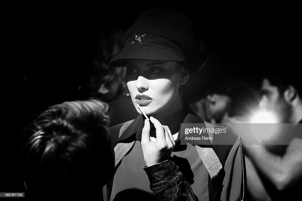 An alternative view of a model backstage ahead of the ArGanDe show during Mercedes-Benz Fashion Week Istanbul Fall/Winter 2013/14 at Antrepo 3 on March 15, 2013 in Istanbul, Turkey.
