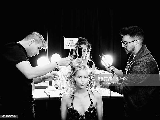 An alternative view of a model backstage for the Son Jung Wan fashion show during New York Fashion Week September 2016 at Moynihan Station on...