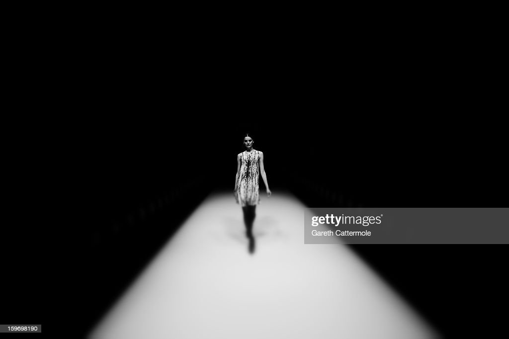 An alternative view of a model on the runway at the Dawid Tomaszewski Autumn/Winter 2013/14 fashion show during the Mercedes-Benz Fashion Week Berlin at the Brandenburg Gate on January 18, 2013 in Berlin, Germany.