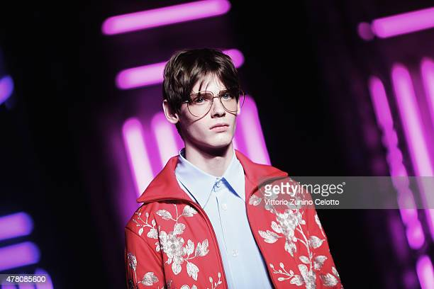 An alternative view of a model walking the runway at the Gucci show on June 22 2015 in Milan Italy