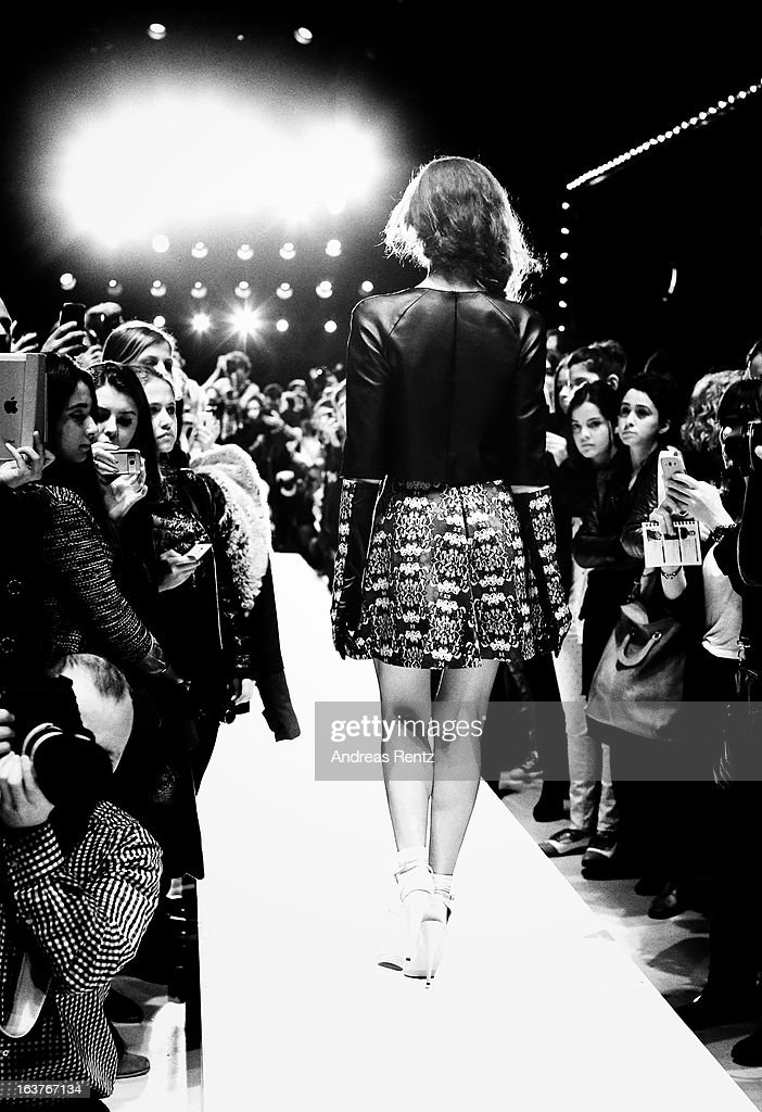 An alternative view of a model walks the runway at the Studio Kaprol show during Mercedes-Benz Fashion Week Istanbul Fall/Winter 2013/14 at Antrepo 3 on March 15, 2013 in Istanbul, Turkey.