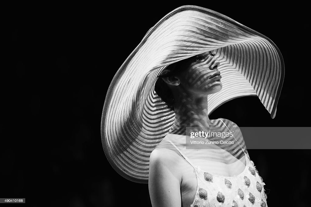 An alternative view of a model walks the runway during the Giorgio Armani fashion show as part of Milan Fashion Week Spring/Summer 2016 on September 28, 2015 in Milan, Italy.