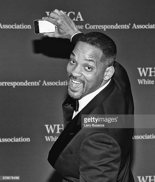 An alternative view of Actor Will Smith taking a selfie at the 102nd White House Correspondents' Association Dinner Weekend on April 30 2016 in...