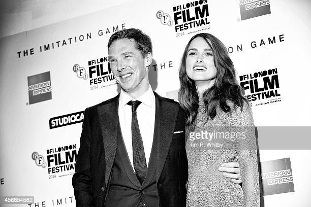 An alternative view of actors Benedict Cumberbatch and Keira Knightley at the premiere of The Imitation Game at The 58th London Film Festival on...