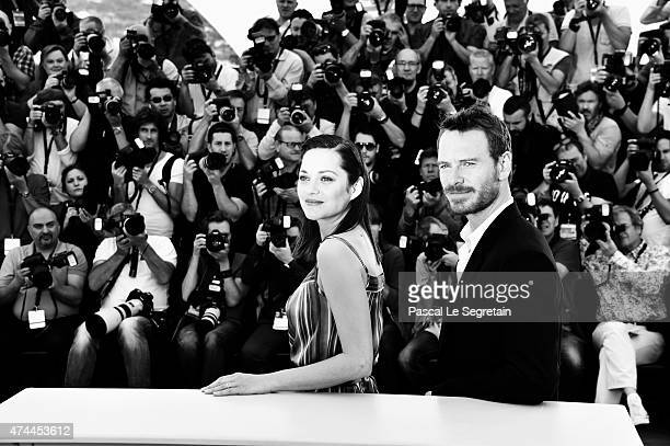 """An alternative view of actors Marion Cotillard and Michael Fassbender as they attend the """"Macbeth"""" Photocall during the 68th annual Cannes Film..."""