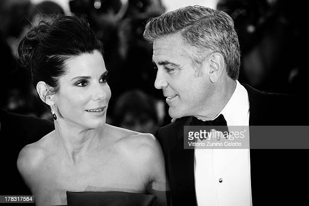 An alternative view of actors Sandra Bullock and George Clooney attend 'Gravity' premiere and Opening Ceremony at the 70th Venice International Film...