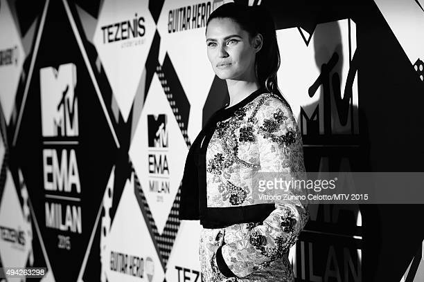 An alternative view of Bianca Balti as she attends the MTV EMA's 2015 at the Mediolanum Forum on October 25, 2015 in Milan, Italy.