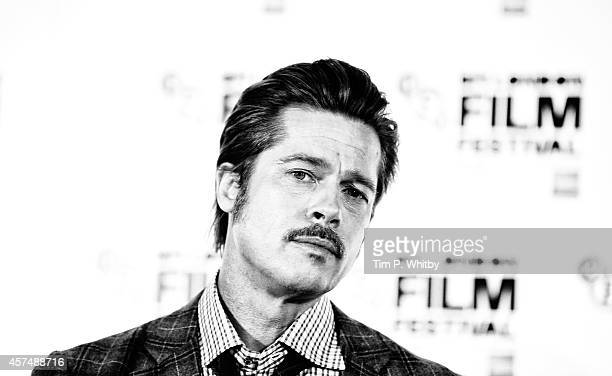 An alternative view of Brad Pitt during the Fury Press Conference at The Corinthia Hotel during The 58th London Film Festival on October 19 2014 in...