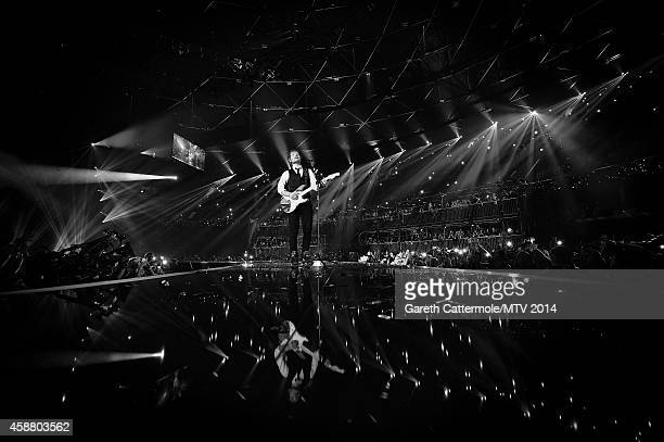 An alternative view of Ed Sheeran during the MTV EMA's at The Hydro on November 9 2014 in Glasgow Scotland