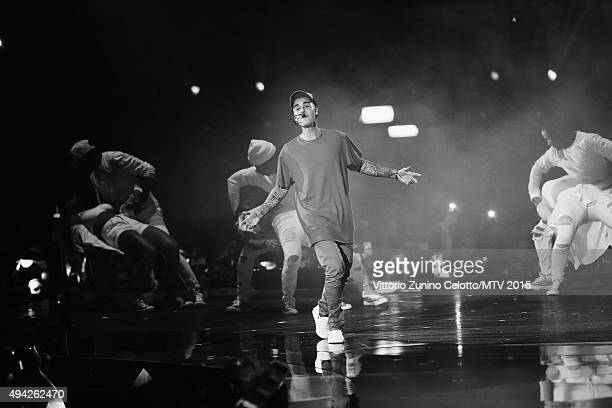An alternative view of Justin Bieber as he performs on stage during the MTV EMA's 2015 at the Mediolanum Forum on October 25, 2015 in Milan, Italy.