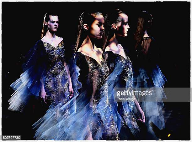 An alternative view of models at the Marchesa fashion show during New York Fashion Week September 2016 on September 14 2016 in New York City