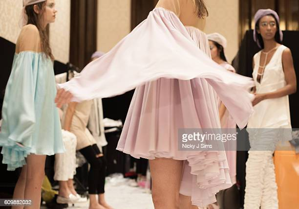 An alternative view of models backstage ahead of the Irynvigre show during London Fashion Week Spring/Summer collections 2017 on September 16 2016 in...