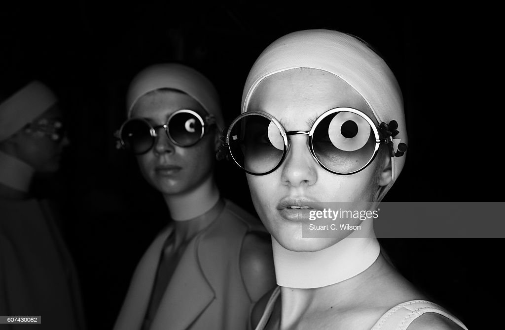 An alternative view of models backstage at the Anya Hindmarch show during London Fashion Week Spring/Summer collections 2017 on September 18, 2016 in London, United Kingdom.