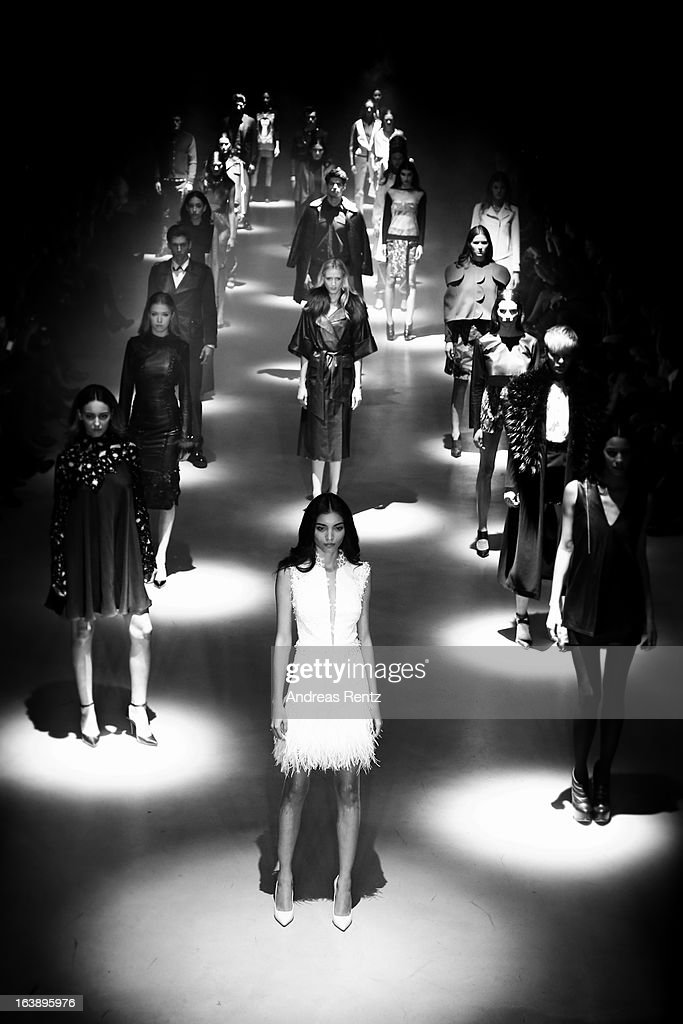 An alternative view of models walk the runway during the Best of Mercedes-Benz Fashion Week Istanbul Fall/Winter 2013/14 at Antrepo 3 on March 16, 2013 in Istanbul, Turkey.
