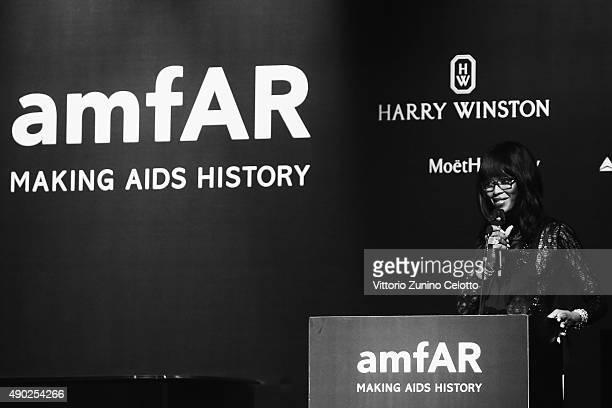 An alternative view of Naomi Campbell at amfAR Milano 2015 at La Permanente on September 26 2015 in Milan Italy