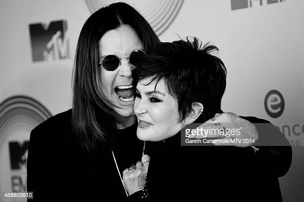 An alternative view of Ozzy Osbourne and Sharon Osbourne during the MTV EMA's at The Hydro on November 9 2014 in Glasgow Scotland