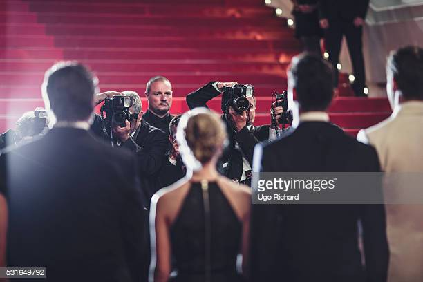 An alternative view of Photographers shooting the Cast of the movie 'The Nice Guys' during the 69th annual Cannes Film Festival at the Palais des...