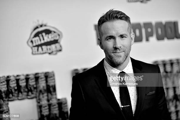 An alternative view of Ryan Reynolds at the 'Deadpool' fan event at AMC Empire Theatre on February 8 2016 in New York City