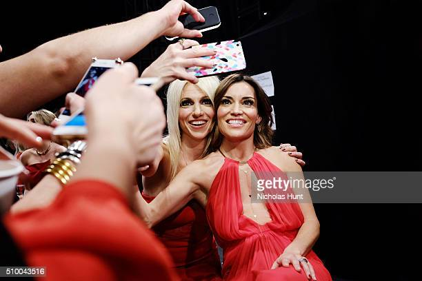 An alternative view of singer Debbie Gibson and TV personality Kit Hoover during New York Fashion Week Fall 2016 at Moynihan Station on February 11...