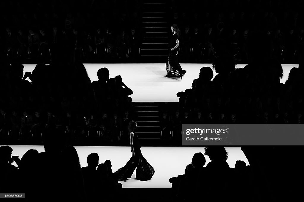 An alternative view of the runway during the Irina Schrotter Autumn/Winter 2013/14 fashion show at the Mercedes-Benz Fashion Week Berlin at the Brandenburg Gate on January 18, 2013 in Berlin, Germany.