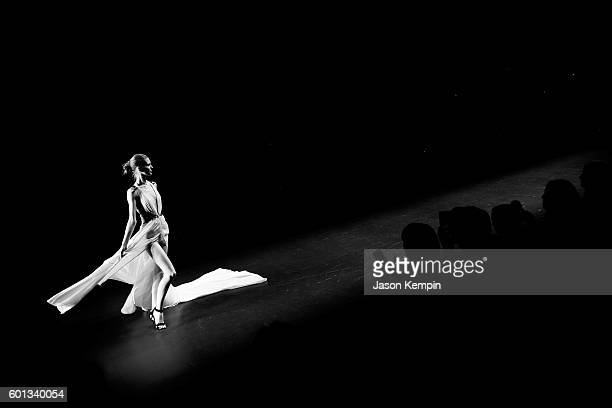 An alternative view of the Tadashi Shoji fashion show durng New York Fashion Week September 2016 at Moynihan Station on September 9 2016 in New York...
