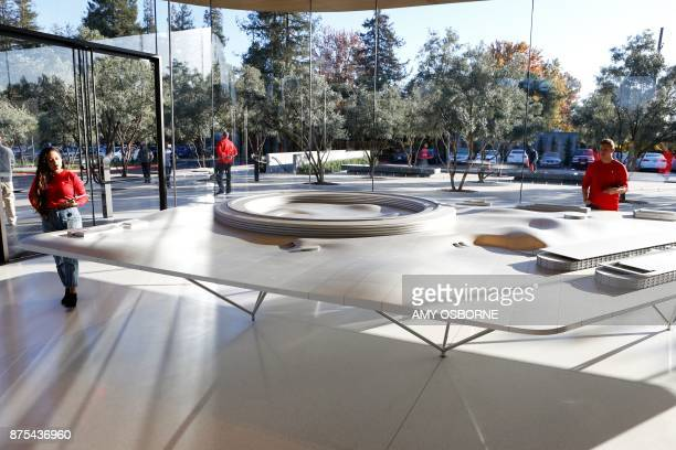 An aluminum alloy model with augmented reality showing the finished Apple Park is displayed at the Apple Park Visitor Center on November 17 2017 in...