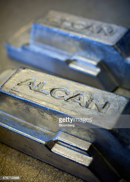 An aluminum ingot made at the Rio Tinto Alcan Inc smelter facility is displayed at their offices in Kitimat British Columbia Canada on Friday June 5...