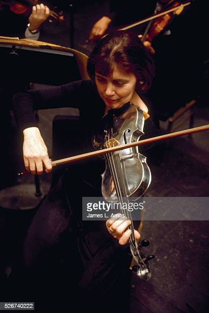 An aluminum violin owned by ALCOLA is played by a member of the Pittsburgh Symphony Orchestra Pennsylvania