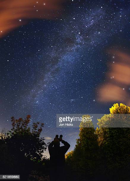 An amateur astronomer observes the Milkyway with binoculars.