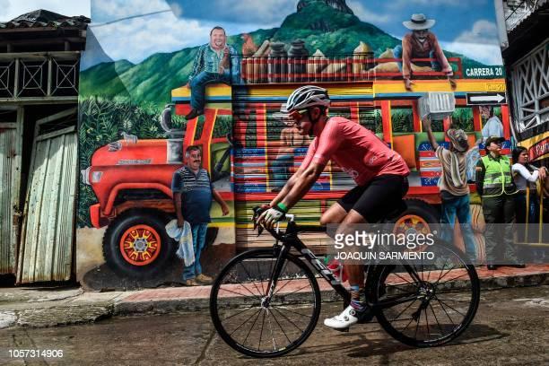 An amateur cyclist rides during the Giro de Rigo in San Carlos, Antioquia«s Department, on November 4, 2018. The Giro de Rigo is an amateur race with...