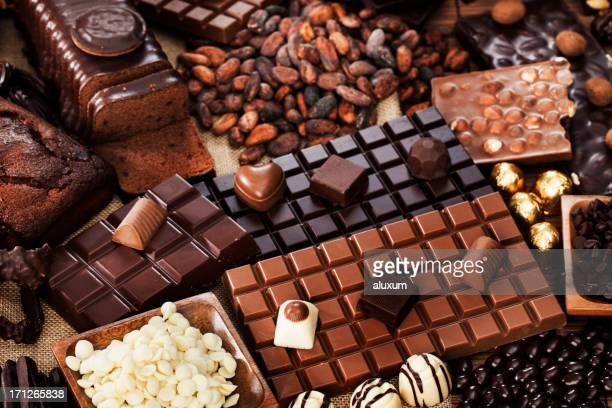 An amazing chocolate collection with cocoa beans