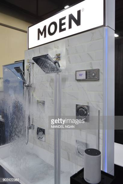 An Amazon Alexa enabled Moen digital shower is seen during the CES Unveiled preview event at the Mandalay Bay Convention Center during CES 2018 in...