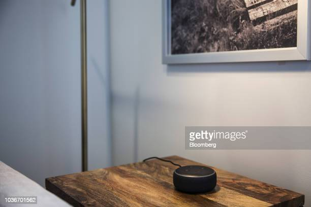 An Amazon Echo Dot smart speaker sits on display during an unveiling event at the Amazoncom Inc Spheres headquarters in Seattle Washington US on...