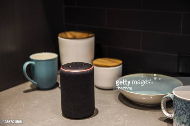 An Amazon Echo Plus smart speaker sits on display during an unveiling event at the Amazoncom Inc Spheres headquarters in Seattle Washington US on...