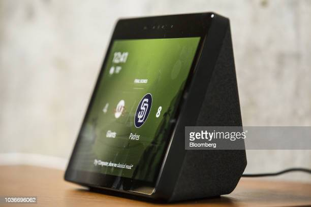An Amazon Echo Show smart speaker and screen sits on display at the Amazoncom Inc Spheres headquarters during an unveiling event in Seattle...
