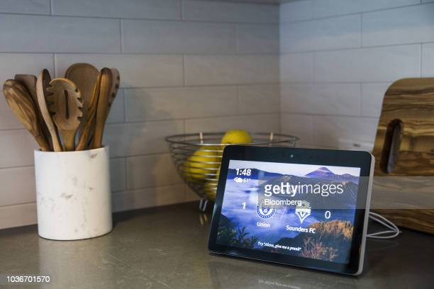 An Amazon Echo Show smart speaker and screen sits on display during an unveiling event at the Amazoncom Inc Spheres headquarters in Seattle...