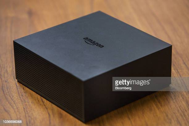 An Amazon Fire TV Recast streaming device sits on display at the Amazoncom Inc Spheres headquarters during an unveiling event in Seattle Washington...